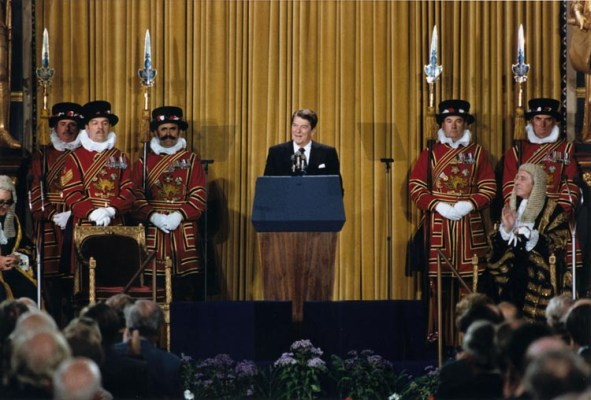 Reagan addressing Parliament