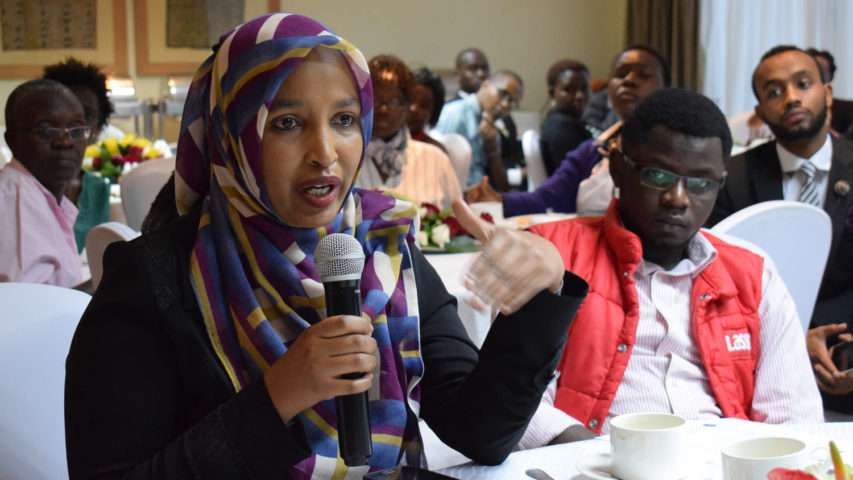 Media Focus on Africa encourages women to run for office; a candidate is pictured at a 2017 event in Kenya.