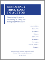 Report Cover: Democracy Think Tanks in Action: Translating Research into Policy in Young and Emerging Democracies
